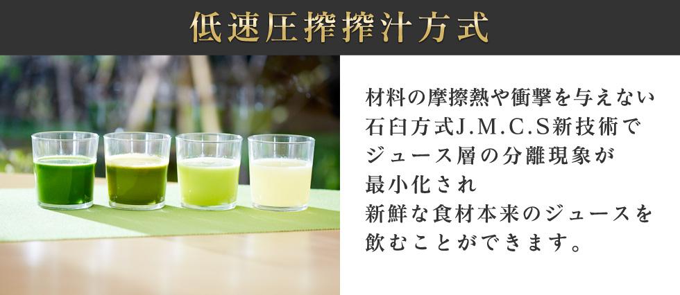 低速圧搾搾汁方式