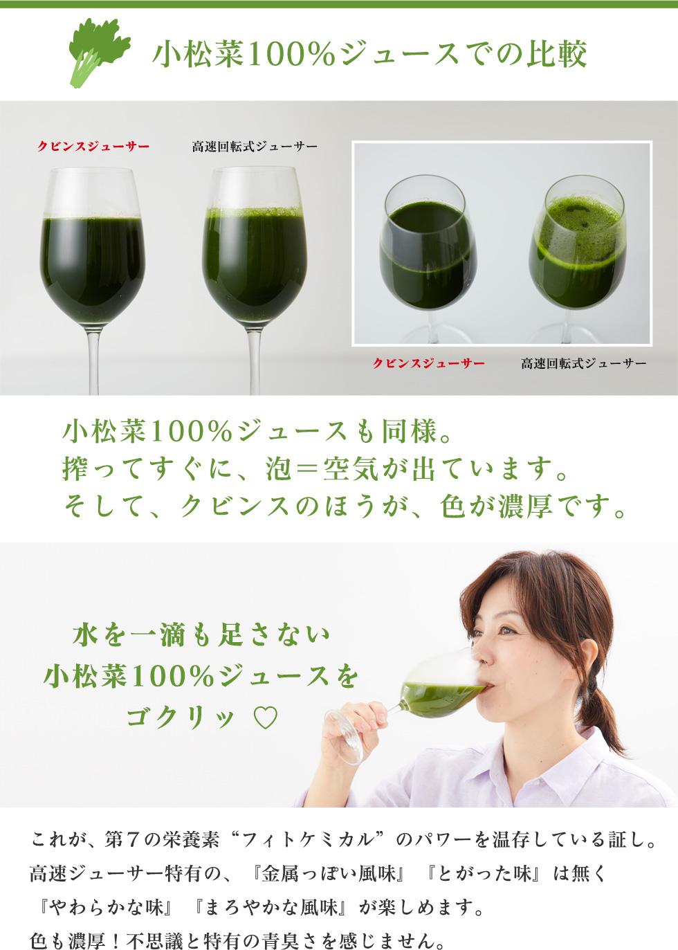 小松菜100%ジュースでの比較