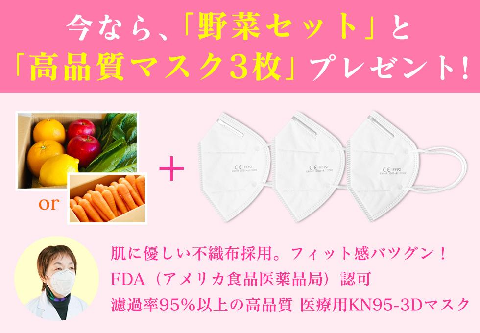 今なら、「野菜セット」と「高品質マスク3枚」プレゼント!